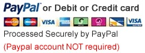 We accept online payments of all major debit or credit cards processed securely by PayPal (PayPal account is NOT required)